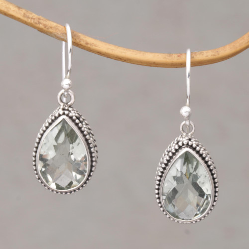Prasiolite and Silver Teardrop Dangle Earrings from Bali 'Sparkling Spring'