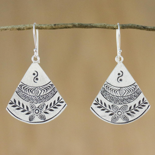 Thai Hill Tribe Style Silver Dangle Earrings 'Hill Tribe Fans'