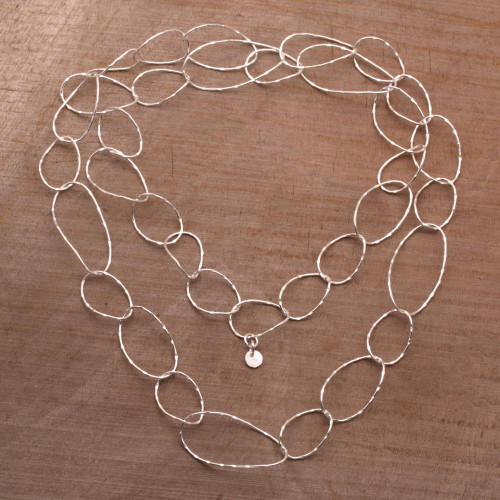 Sterling Silver Chain Link Necklace from Bali 'Twisting Links'