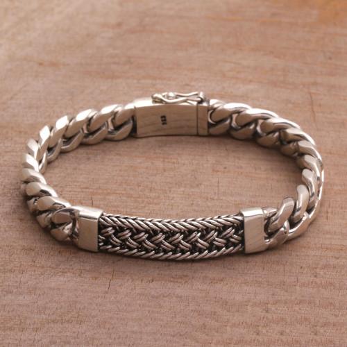 Sterling Silver Braided Wristband Bracelet from Bali 'Braided Belt'