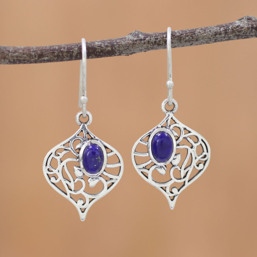 Lapis Lazuli and Silver Jali Dangle Earrings from India 'Blue Jali'