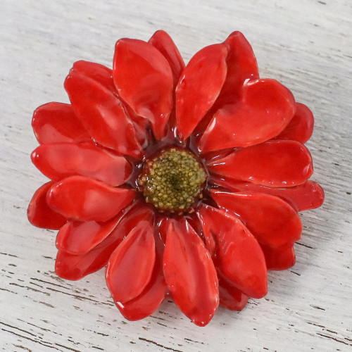 Natural Aster Flower Brooch in Cardinal Red from Thailand 'Let It Bloom in Cardinal Red'