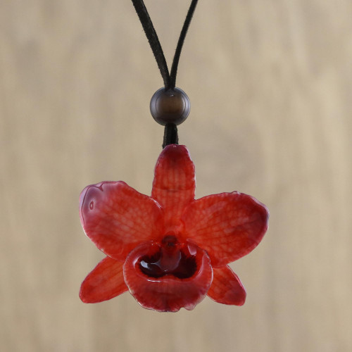 Adjustable Natural Orchid Necklace in Ruby from Thailand 'Natural Feeling in Ruby'