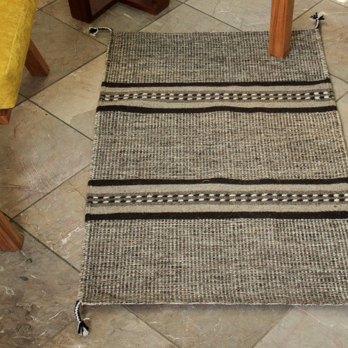 Brown and Beige Hand Loomed Wool Area Rug 2x3 'Land of my People'