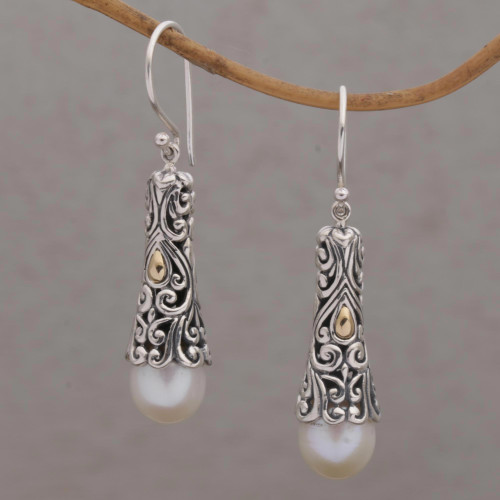 Gold Accent Cultured Pearl Dangle Earrings from Bali 'Dazzling Swirls'