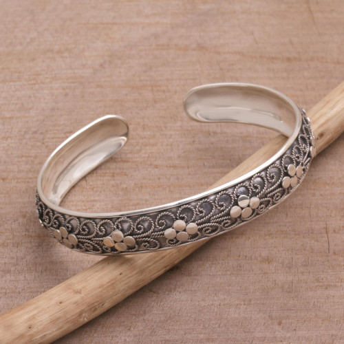 Sterling Silver Rope Motif Cuff Bracelet from Bali 'Shrine Ropes'