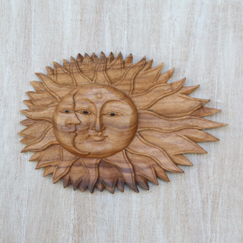 Artisan Hand-Carved Sun and Moon Wall Relief Panel from Bali 'Lunar Solar'