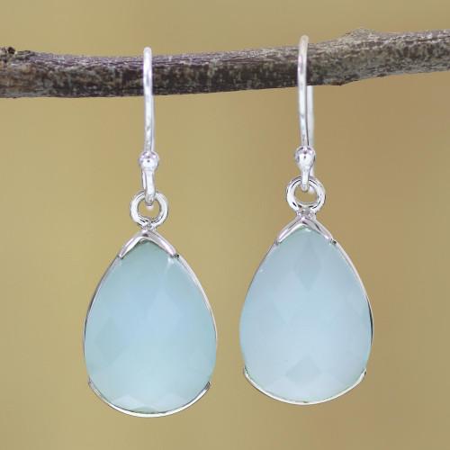 Aqua Chalcedony and Sterling Silver Dangle Earrings 'Aqua Drops'