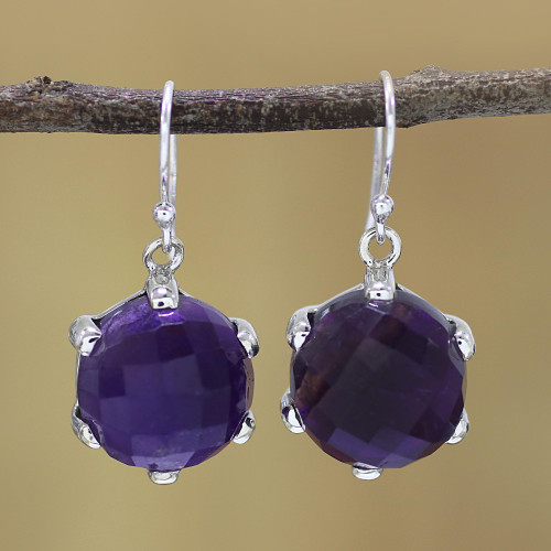 Amethyst and Sterling Silver Dangle Earrings from India 'Dazzling Purple'