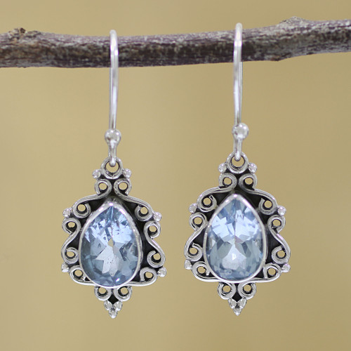Sterling Silver and Blue Topaz Dangle Earrings from India 'Blue Intricacy'