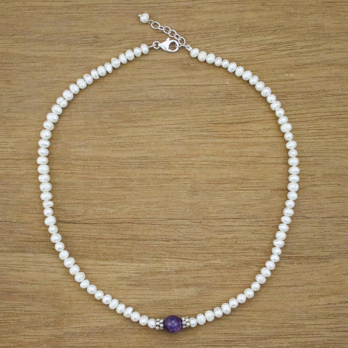 Cultured Pearl and Amethyst Beaded Necklace from Thailand 'Amethyst Romance'