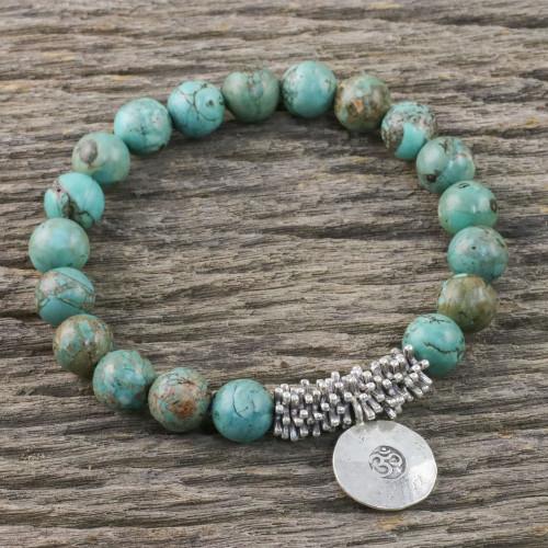 Karen Silver Beaded Om Bracelet from Thailand 'Mossy Charm'