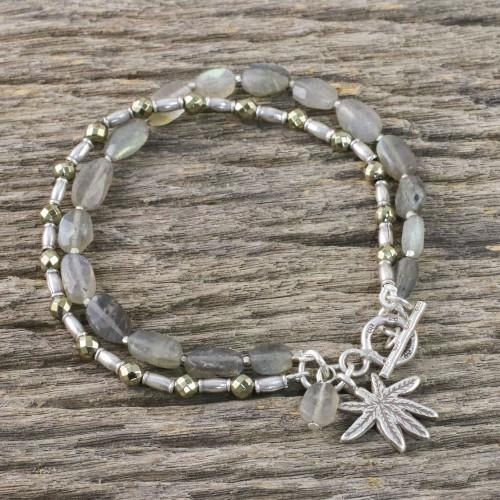 Labradorite Tree-Themed Beaded Bracelet from Thailand 'Beach Tree'