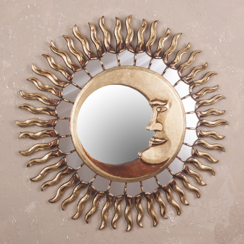 Sun and Moon Themed Bronze Leaf Wood Wall Mirror 'Cuzco Eclipse'