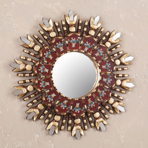 Reverse Painted Glass and Wood Wall Mirror from Peru 'Colonial Claret'
