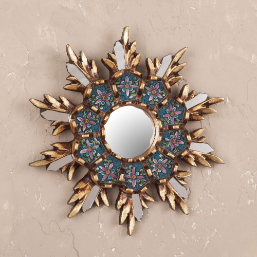 Colonial Style Reverse Painted Glass Wall Mirror 'Cuzco Snowflake'