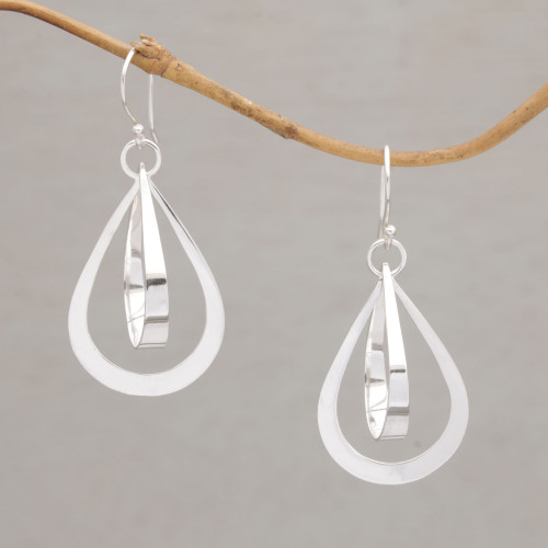 Polished Sterling Silver Drop-Shaped Earrings from Bali 'Droplet Ribbons'
