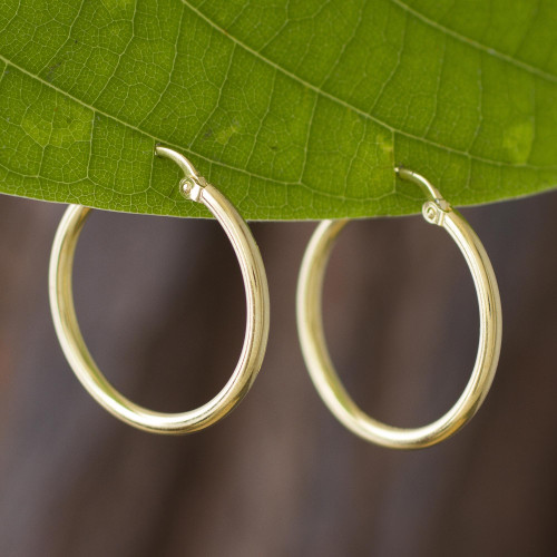 18k Gold Plated Sterling Silver Hoop Earrings from Peru 'Eternal Gleam'