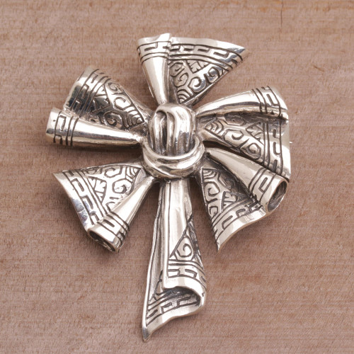 Sterling Silver Songket Cloth Brooch from Bali 'Songket Windmill'