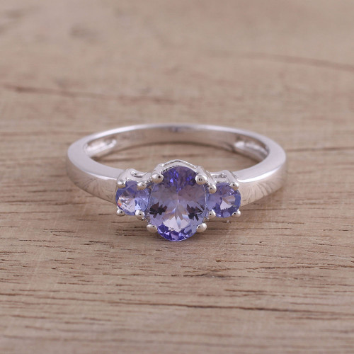 Rhodium Plated Purple Tanzanite Cocktail Ring from India 'Elegant Glimmer'