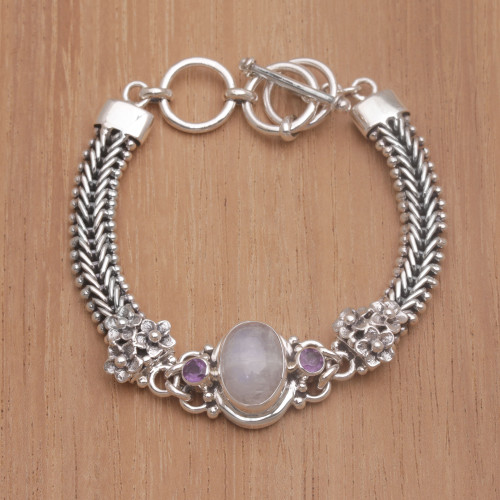 Rainbow Moonstone and Amethyst Pendant Bracelet from Bali 'Jepun Glow'