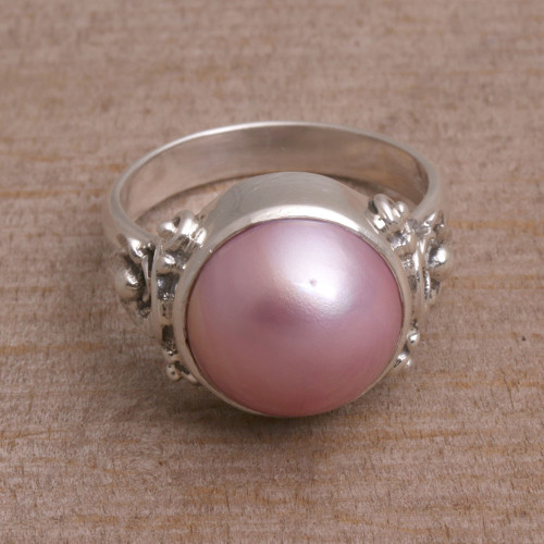 Floral Pink Cultured Pearl Cocktail Ring from Bali 'Jepun Joy'