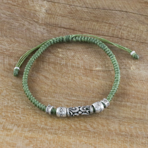 Thai Hand Crafted Silver Beaded Olive Green Cord Bracelet 'Ancient Mood'