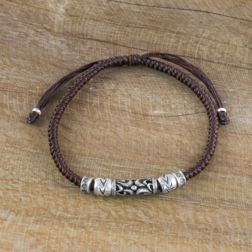 Thai Handcrafted Silver Beaded Espresso Cord Bracelet 'Ancient Aura'