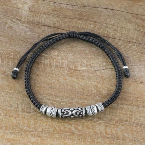 Thai Artisan Crafted Silver Beaded Ebony Cord Bracelet 'Ancient Spirit'