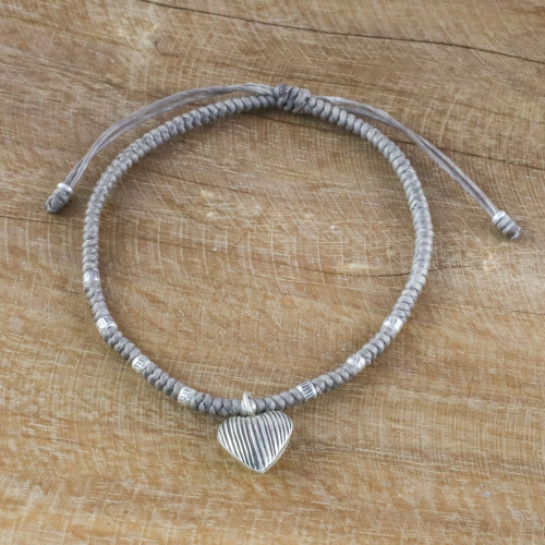 Grey Cord Heart Charm Bracelet with Hill Tribe Silver 'Ancient Heart'
