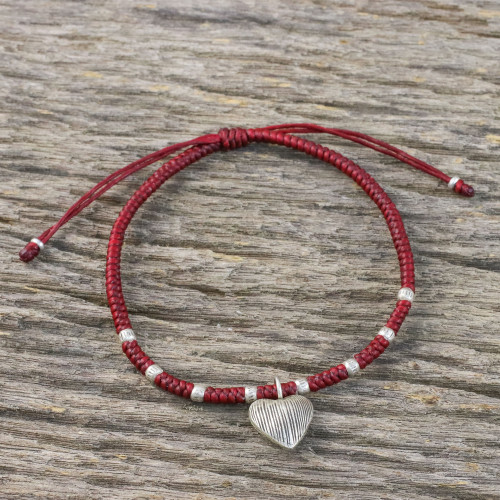 Dark Red Braided Cord Bracelet with Hill Tribe Silver 'Ancient Heart in Red'