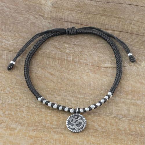 Black Cord Bracelet with 950 Silver Om Charm 'Ancient Om in Black'