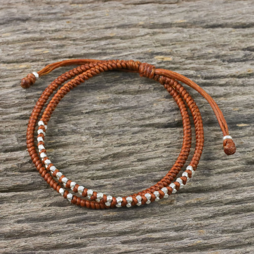 Burnt Sienna Cord Bracelet with Silver Beads 'Everyday Thai in Burnt Sienna'