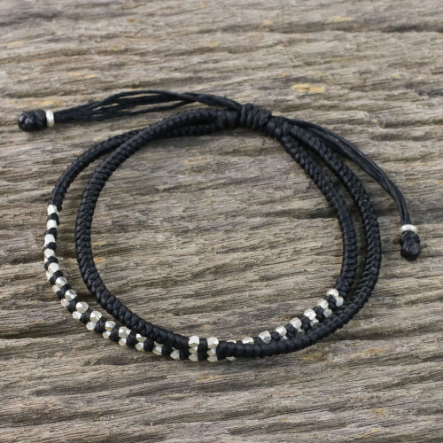 Black Braided Cord Bracelet with Silver 950 Beads 'Everyday Thai in Jet Black'