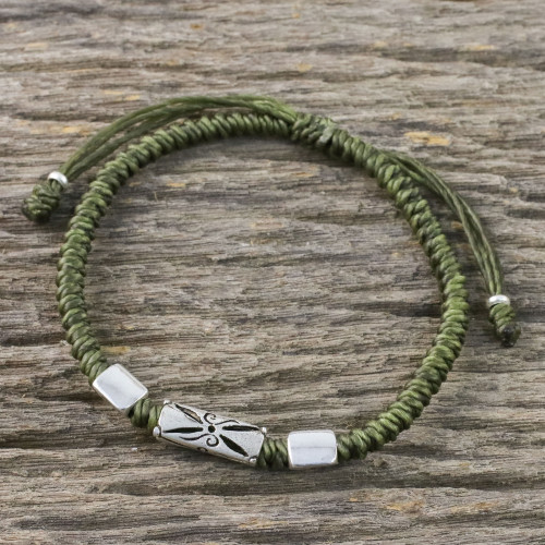 Hand Braided Olive Cord Bracelet with Silver Pendants 'Karen Triangle in Olive'