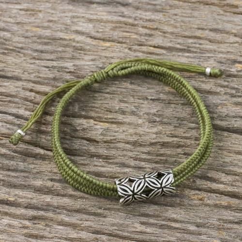 Thai Silver Pendant Three Strand Olive Green Cord Bracelet 'Karen Seeds in Olive Green'