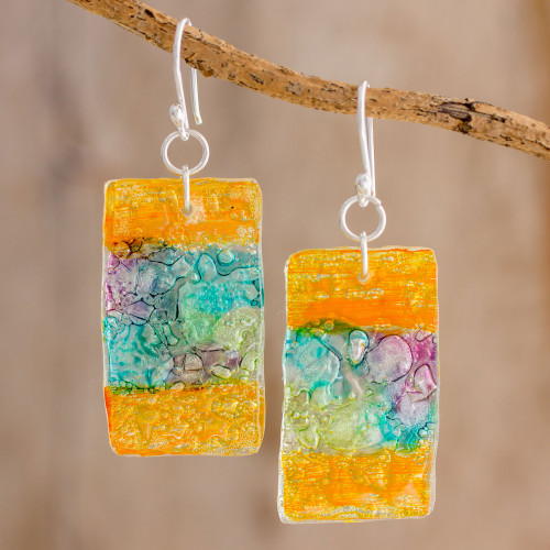 Colorful Recycled CD Dangle Earrings from Guatemala 'Celebrate Creativity'
