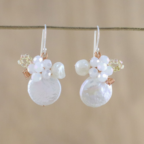 Cultured Pearl and Glass Dangle Earrings from Thailand 'Night Glamour in White'