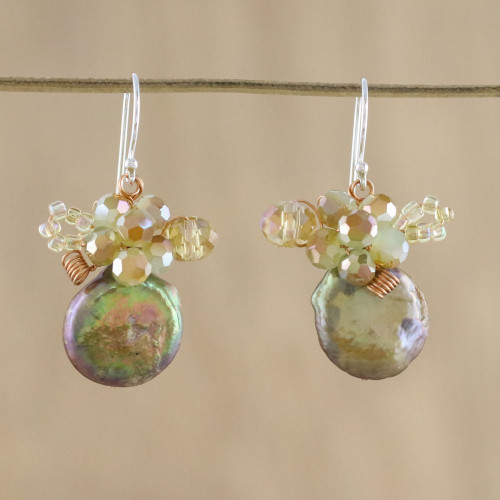 Cultured Pearl Cluster Dangle Earrings from Thailand 'Night Glamour'