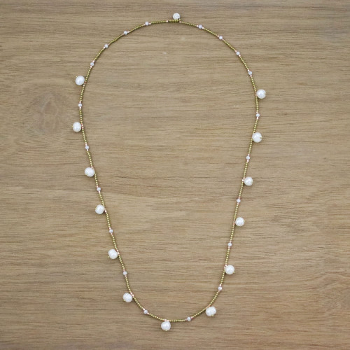 Cultured Pearl Beaded Station Necklace from Thailand 'Fresh Blossoms'