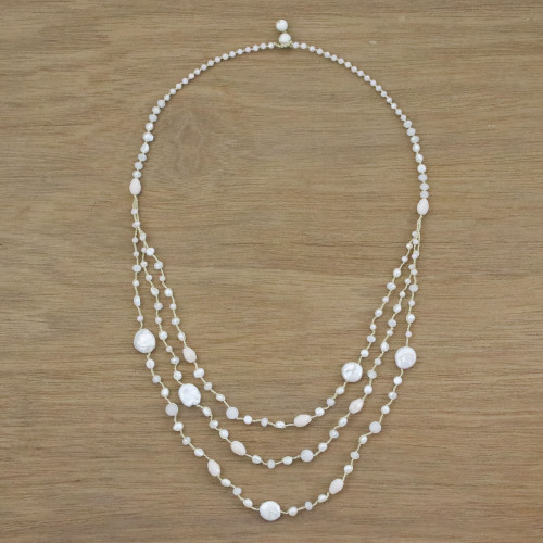 Cultured Pearl Multigem Beaded Necklace from Thailand 'Festive Holiday in White'