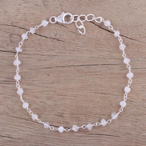 Handmade Rainbow Moonstone Link Bracelet from India 'Beautiful Saga'