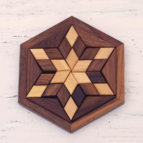 Handcrafted Star-Shaped Wood Puzzle from India 'Rhombus Star'