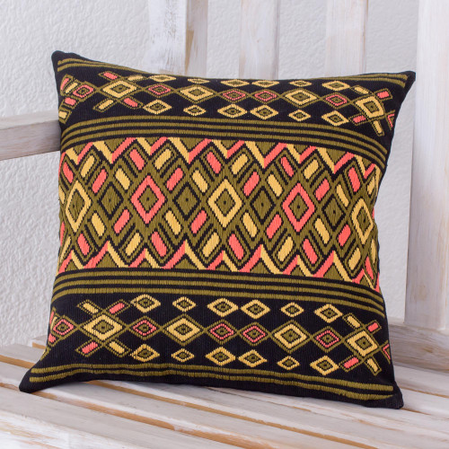 Handwoven Multicolored Cotton Pillow Case from Guatemala 'Dusk Geometry'
