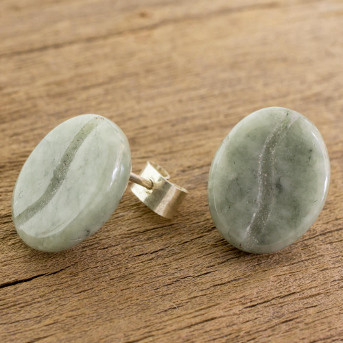 Coffee-Shaped Light Green Jade Stud Earrings from Guatemala 'Passion for Coffee'