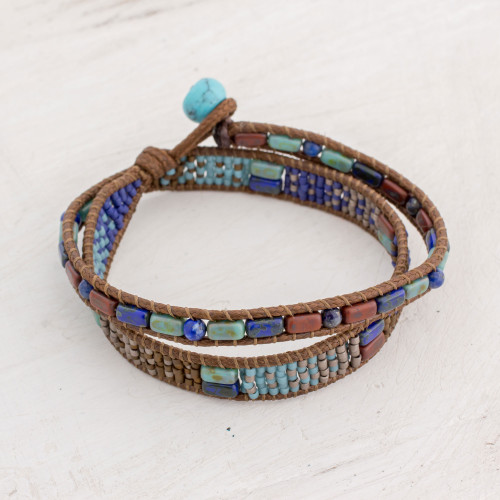 Handcrafted Glass Beaded Wrap Bracelet from Guatemala 'Xocomil Winds'