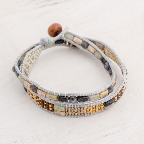 Aventurine and Glass Beaded Wrap Bracelet from Guatemala 'Land of Xocomil'