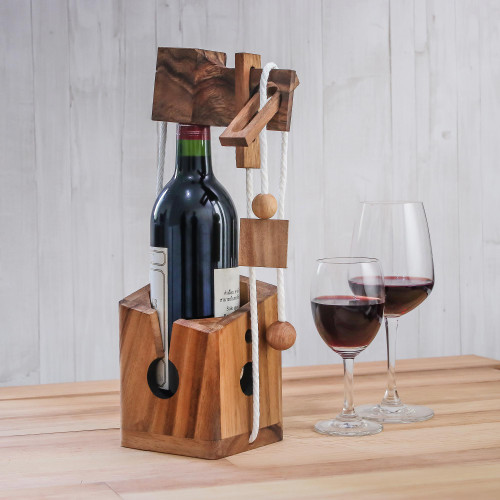Handmade Wood Bottle Holder and Puzzle from Thailand 'Open the Bottle'