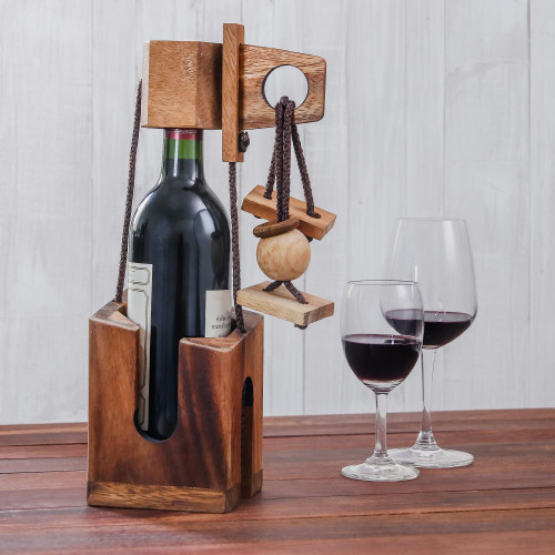 Wood Puzzle and Wine Bottle Holder from Thailand 'Don't Break The Bottle'