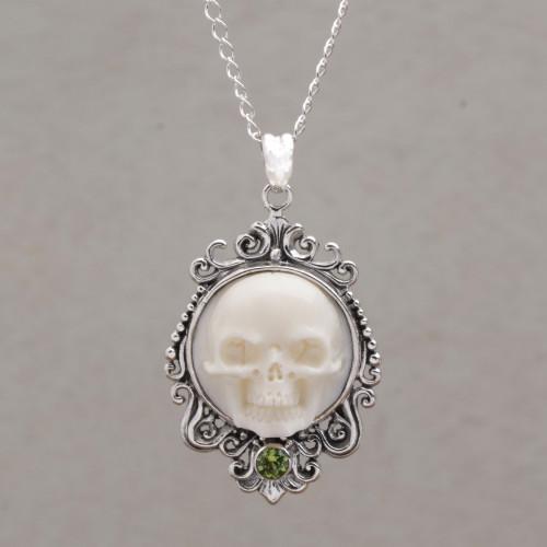 Peridot and Bone White Skull Pendant Necklace from Bali 'Skull Stare in White'
